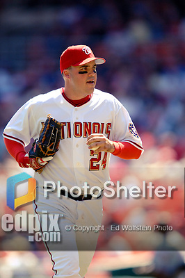 11 April 2006: Nick Johnson, first baseman for the Washington Nationals, trots back to the dugout during the Nationals' Home Opener against the New York Mets in Washington, DC. The Mets defeated the Nationals 7-1 to start the 2006 season at RFK Stadium...Mandatory Photo Credit: Ed Wolfstein Photo..