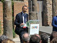 Giuseppe Sala presidente EXPO 2015negli scavi archeologici di Pompei per presentare Expo 2015,  18 Aprile 2015