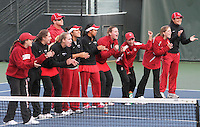 STANFORD, CA - January 29, 2011:  The Stanford team cheers on a match during Stanford's 6-1 victory over Oklahoma at Stanford, California on January 29, 2011.