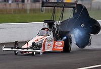 Sept. 2, 2013; Clermont, IN, USA: NHRA top fuel dragster driver Clay Millican during the US Nationals at Lucas Oil Raceway. Mandatory Credit: Mark J. Rebilas-