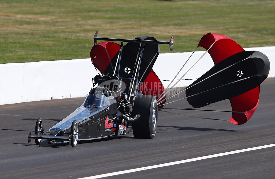 Aug. 30, 2013; Clermont, IN, USA: NHRA top alcohol dragster driver Shawn Cowie during qualifying for the US Nationals at Lucas Oil Raceway. Mandatory Credit: Mark J. Rebilas-