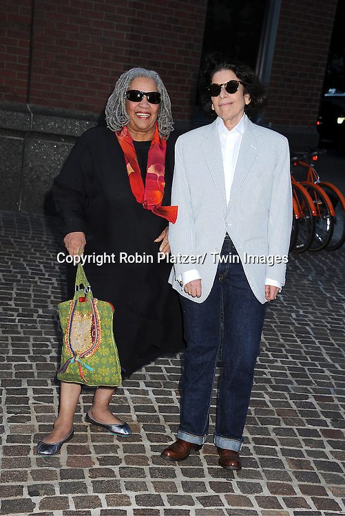 """Toni Morrison and Fran Lebowitz attending the New York Special Screening of """"The Debt"""" on August 22, 2011 at The Tribeca Grand Hotel in New York City. The movie stars Helen Mirren and Jessica Chastain."""