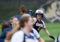 NWA Democrat-Gazette/CHARLIE KAIJO Rogers Heritage High School Josephine Patten (3) scores during the 6A State Softball Tournament, Thursday, May 9, 2019 at Tiger Athletic Complex at Bentonville High School in Bentonville. Rogers Heritage High School lost to Northside High School 8-6