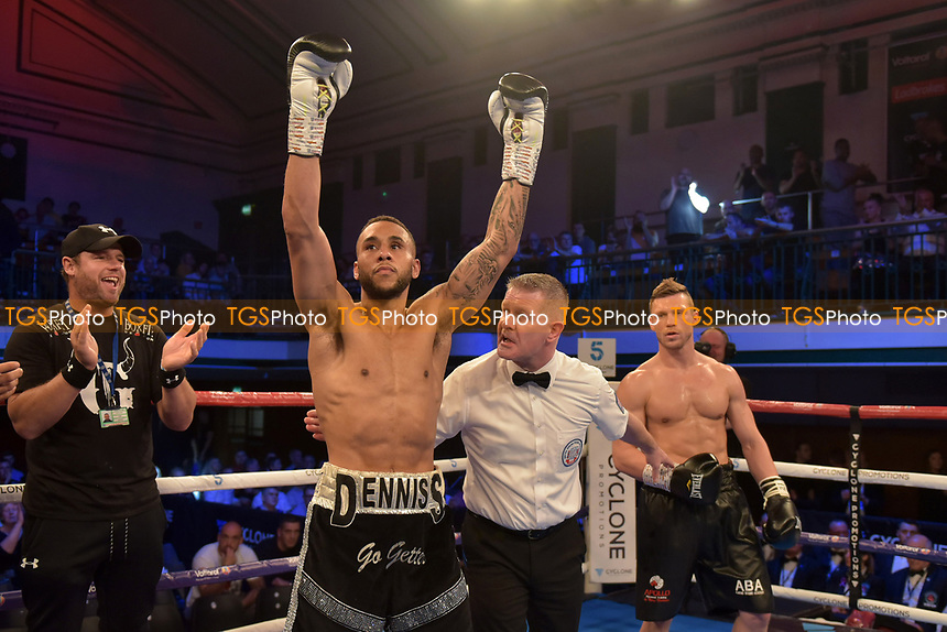 Grant Dennis (black/sliver shorts) defeats Harry Matthews during a Boxing Show at York Hall on 13th October 2018