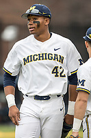 Michigan Wolverines outfielder Jordan Nwogu (42) in action against the Maryland Terrapins on April 13, 2018 in a Big Ten NCAA baseball game at Ray Fisher Stadium in Ann Arbor, Michigan. Michigan defeated Maryland 10-4. (Andrew Woolley/Four Seam Images)