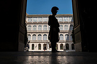 Vatican City, June 26, 2018. A Swiss Guard stands guard at the Apostolic Palace, at the Vatican.