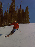 John skiing before kids, helmets and shaped skis, Colorado.