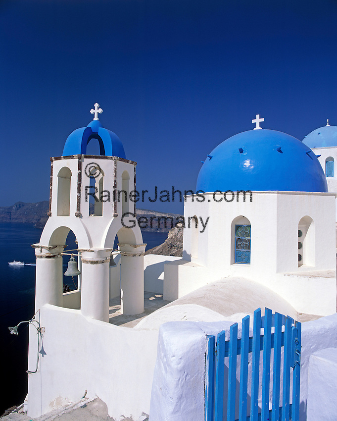 Greece; Cyclades; Santorini; Ia in Santorini's North: Blue and white church