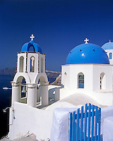 Greece; Cyclades; Santorini; Ia in Santorini's North: Blue and white church