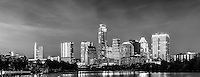 Austin Skyline BW  -  We captured this Austin skyline BW of the city at night from along the Ladybird Lake hike and bike trail.   We thought the austin skyline with the high rise building were brilliant against the night sky with the Frost, Austonian, Four Season Hotel, Austin 360 and the W along with many others all crowding together along the shoreline in black and white.   You can see the reflection of the skyline in Ladybird lake but come back in a year or two and it will likely be different. The city skyline has been changing very fast over the last four or five years as new construction is popping up with high rise buildings almost every six or seven months in this town.