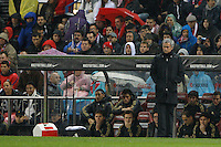 11.04.2012 MADRID, SPAIN - La Liga match played between At. Madrid vs Real Madrid (1-4) with hat-trick of Cristiano Ronaldo at Vicente Calderon stadium. The picture show Jose Mourinho  coach of Real Madrid
