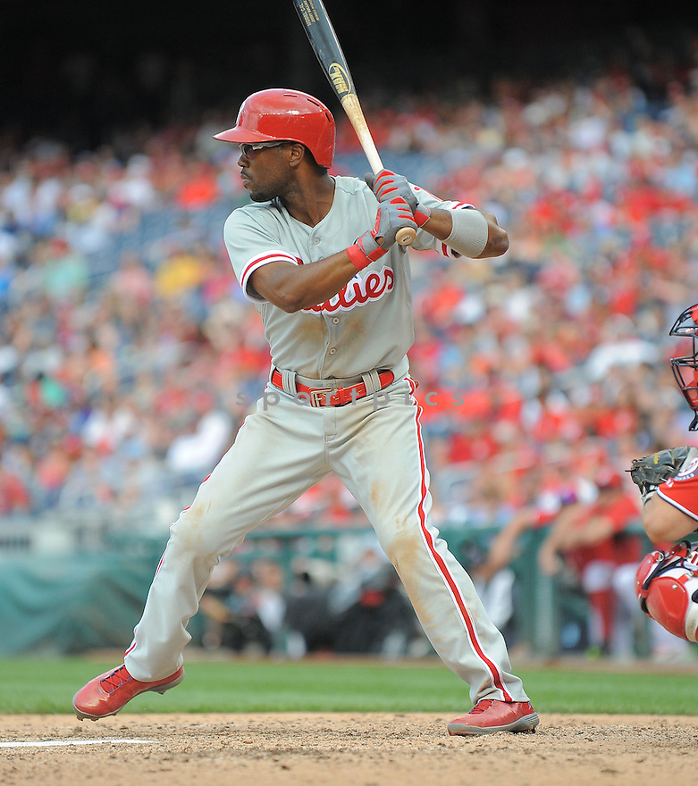 Philadelphia Phillies Jimmy Rollins (11) during a game against the Washington Nationals on August 3, 2014 at Nationals Park in Washington, DC. The Nationals beat the Phillies 4-0.