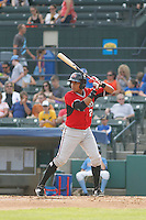 Carolina Mudcats infielder Johan Camargo (2) at bat during game one of a doubleheader against the Myrtle Beach Pelicans at Ticketreturn.com Field at Pelicans Ballpark on June 6, 2015 in Myrtle Beach, South Carolina. Carolina defeated Myrtle Beach 1-0. (Robert Gurganus/Four Seam Images)