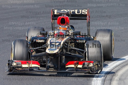 Lotus F1 Formula One driver Kimi Raikkonnen of Finland competes during the Hungarian F1 Grand Prix in Mogyorod (about 20km north-east from capital city Budapest), Hungary on July 28, 2013. ATTILA VOLGYI
