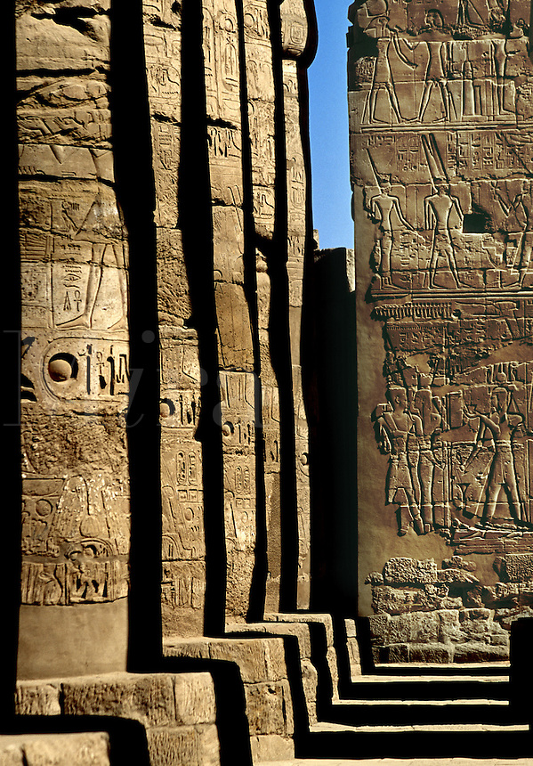 Hieroglyphics on giant columns of the Great Hypostyle Hall at Karnak Temple Luxor East Bank Egypt.