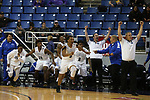 The Desert Pines team celebrates after defeating Cheyenne 48-44 in overtime for the NIAA 3A state basketball championship in Reno, Nev., on Saturday, Feb. 24, 2018. Desert Pines won 48-44 in overtime. Cathleen Allison/Las Vegas Review-Journal