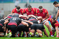 The Wales U20 front row of Dillon Lewis, Liam Belcher and Corey Domachowski pack down for a scrum. World Rugby U20 Championship match between Wales U20 and Georgia U20 on June 11, 2016 at the Manchester City Academy Stadium in Manchester, England. Photo by: Patrick Khachfe / Onside Images
