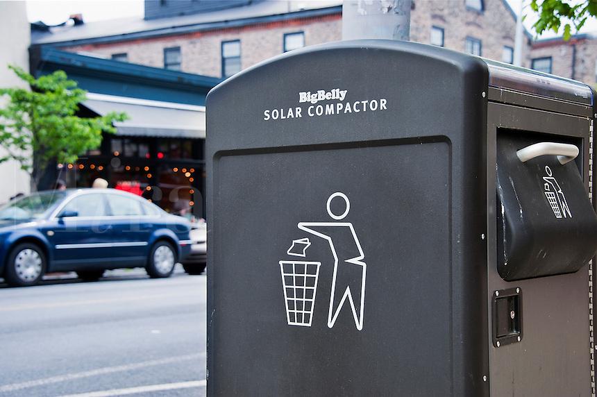 Public solar compactor trash receptacle, Manayunk, PA, USA