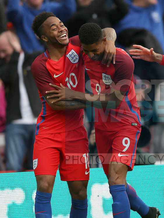 Marcus Rashford of England celebrates with Raheem Sterling of England during the International Friendly match at the Stadium of Light, Sunderland. Photo credit should read: Simon Bellis/Sportimage