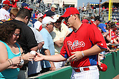 Philadelphia Phillies Vance Worley #49 signs autographs before a scrimmage vs the Florida State Seminoles  at Bright House Field in Clearwater, Florida;  February 24, 2011.  Philadelphia defeated Florida State 8-0.  Photo By Mike Janes/Four Seam Images