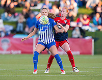 Boyds, MD - April 16, 2016: Washington Spirit defender Victoria Huster (23) and Boston Breakers midfielder Kristie Mewis (19). The Washington Spirit defeated the Boston Breakers 1-0 during their National Women's Soccer League (NWSL) match at the Maryland SoccerPlex.