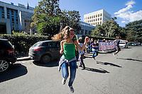 Roma 13 Marzo 2012.Cinecitta' Bene Comune occupa simbolicamente l'assessorato all'Urbanistica  presieduto dall'Assessore Corsini, contro la cementificazione del  X municipio e  il progetto del costruttore Scarpellini.