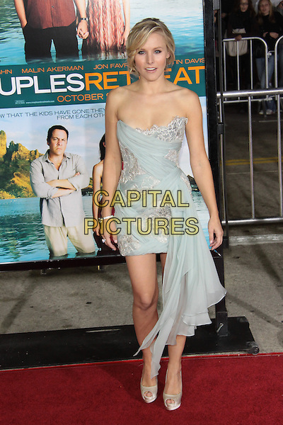 """KRISTEN BELL.""""Couples Retreat""""  Los Angeles Premiere held at  Manns Village Theatre, Westwood, California, USA..October 5th, 2009.full length strapless dress white grey gray green sash peep toe christian louboutin shoes gold blue.CAP/ADM/TC.©T. Conrad/AdMedia/Capital Pictures."""