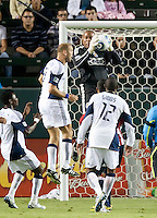 Chivas goalie Zach Thornton (22) goes up high to save a shot on goal during the second half of the game between Chivas USA and the New England Revolution at the Home Depot Center in Carson, CA, on September 10, 2010. Chivas USA 2, New England Revolution 0.