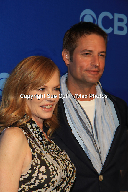 Marg Helgenberger and Josh Hollowway at the CBS Upfront on May 15, 2013 at Lincoln Center, New York City, New York. (Photo by Sue Coflin/Max Photos)