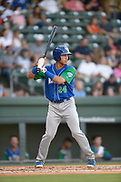 Center fielder Marten Gasparini (24) of the Lexington Legends at bat during a game against the Greenville Drive on Saturday, September 1, 2018, at Fluor Field at the West End in Greenville, South Carolina. Greenville won, 9-6. (Tom Priddy/Four Seam Images)