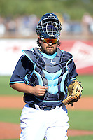 Tampa Bay Rays catcher Roman Ali Solis (64) during a spring training game against the Minnesota Twins on March 2, 2014 at Charlotte Sports Park in Port Charlotte, Florida.  Tampa Bay defeated Minnesota 6-3.  (Mike Janes/Four Seam Images)