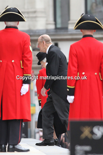 NON EXCLUSIVE PICTURE: MATRIXPICTURES.CO.UK.PLEASE CREDIT ALL USES..WORLD RIGHTS..Prince Philip attending the funeral service of British former Prime Minister Margaret Thatcher, at London's St Paul's Cathedral...Thatcher's coffin arrived on a gun carriage drawn by six horses of the King's Troop Royal Horse Artillery...APRIL 17th 2013..REF: WTX 132515
