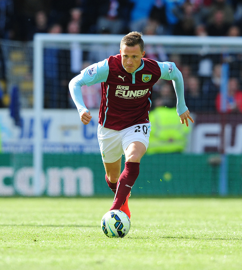 Burnley&rsquo;s Fredrik Ulvestad in action during todays match  <br /> <br /> Photographer Chris Vaughan/CameraSport<br /> <br /> Football - Barclays Premiership - Burnley v Stoke City - Saturday 16th May 2015 - Turf Moor - Burnley<br /> <br /> &copy; CameraSport - 43 Linden Ave. Countesthorpe. Leicester. England. LE8 5PG - Tel: +44 (0) 116 277 4147 - admin@camerasport.com - www.camerasport.com