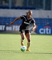 FC Gold Pride defender Kandace Wilson (9) dribbles the ball.  The FC Gold Pride defeated the Chicago Red Stars 3-2 at Toyota Park in Bridgeview, IL on August 22, 2010