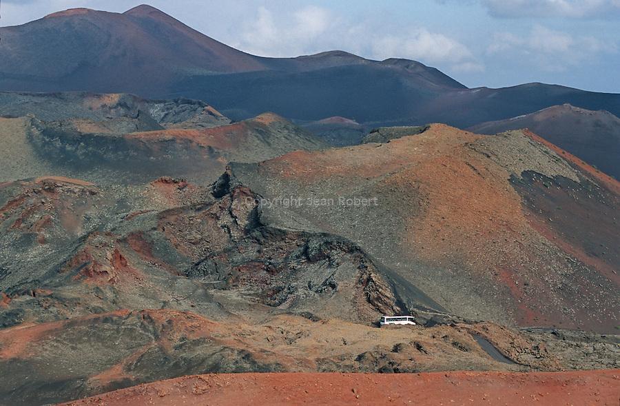Champs de lave. Caldeiras et hornitos volcaniques. Parc national de Timanfaya. Ile de Lanzarote.