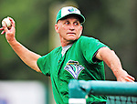 21 August 2010: Vermont Lake Monsters' Hitting Coach Paul Sanagorski tosses batting practice prior to a game against the Brooklyn Cyclones at Centennial Field in Burlington, Vermont. The Cyclones defeated the Lake Monsters 8-7 in a 12-inning game that had to be resumed in Brooklyn on August 31 due to late inning rain. Mandatory Credit: Ed Wolfstein Photo