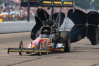 Aug 16, 2014; Brainerd, MN, USA; NHRA top fuel dragster driver Luigi Novelli during qualifying for the Lucas Oil Nationals at Brainerd International Raceway. Mandatory Credit: Mark J. Rebilas-