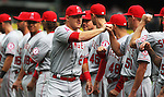 Los Angeles Angels Mike Trout high five teammates during introductions before their game against the Seattle Mariners in  season home opener April 6, 2015 at Safeco Field in Seattle.  The Mariners beat the Angels 4-1.       ©2015. Jim Bryant Photo. ALL RIGHTS RESERVED.