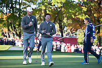 Thomas Pieters and Rory McIlroy (Team Europe) on the 4th green during the Saturday morning Foursomes at the Ryder Cup, Hazeltine national Golf Club, Chaska, Minnesota, USA.  01/10/2016<br /> Picture: Golffile | Fran Caffrey<br /> <br /> <br /> All photo usage must carry mandatory copyright credit (&copy; Golffile | Fran Caffrey)