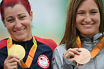 (L-R) Jamie Whitmore (USA), Denise Schindler (GER), <br /> SEPTEMBER 16, 2016 - Cycling - Road : <br /> Women's Road Race C1-2-3 Medal Ceremony <br /> at Pontal <br /> during the Rio 2016 Paralympic Games in Rio de Janeiro, Brazil.<br /> (Photo by AFLO SPORT)