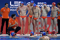 VAN DER MEER Harry coach of the Netherlands time out <br /> Budapest 14/01/2020 Duna Arena <br /> ROMANIA (white caps) Vs. NETHERLANDS (blue caps) Men  <br /> XXXIV LEN European Water Polo Championships 2020<br /> Photo  © Andrea Staccioli / Deepbluemedia / Insidefoto