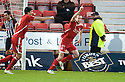 ABERDEEN'S ANDREW CONSIDINE (6) CELEBRATES AFETR HE  SCORES ABERDEEN'S FIRST