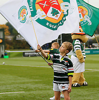 A young mascot flies the flag for Ealing Trailfinders RFC  during the Greene King IPA Championship match between Ealing Trailfinders and Bedford Blues at Castle Bar , West Ealing , England  on 29 October 2016. Photo by Carlton Myrie / PRiME Media