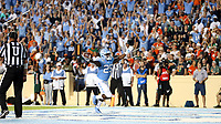 CHAPEL HILL, NC - SEPTEMBER 07: Javonte Williams #25 of the University of North Carolina scores a touchdown during a game between University of Miami and University of North Carolina at Kenan Memorial Stadium on September 07, 2019 in Chapel Hill, North Carolina.