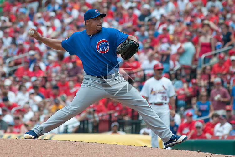 05 June 2011                Chicago Cubs starting pitcher Carlos Zambrano (38) throws in the first inning.  The St. Louis Cardinals defeated the Chicago Cubs 3-2 in ten innings on Sunday June 5, 2011 in the final game of a three-game series at Busch Stadium in downtown St. Louis.