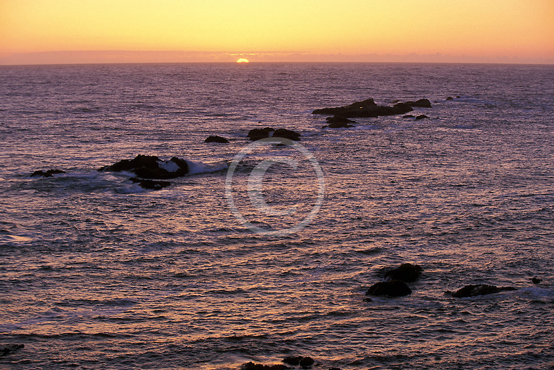 California, Point Arena, Sunset over Pacific Ocean