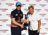 England's Eoin Morgan and NZC president Debbie Hockley. New Zealand Blackcaps v England. 5th ODI International one day cricket, Hagley Oval, Christchurch. New Zealand. Saturday 10 March 2018. © Copyright Photo: Andrew Cornaga / www.Photosport.nz
