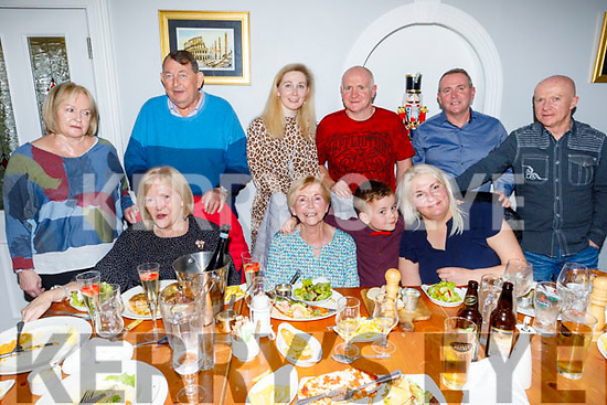 Mary Hobbert from Spa Road celebrating her 80th birthday in Bella Bia on Friday<br /> Seated l to r: Eileen, Mary, Patrick and Linda Hobbert.<br /> Back l to r:  Annette Hobbert, Eddie O'Shea, Georgina, Aidan, Derek and Brian Hobbert.
