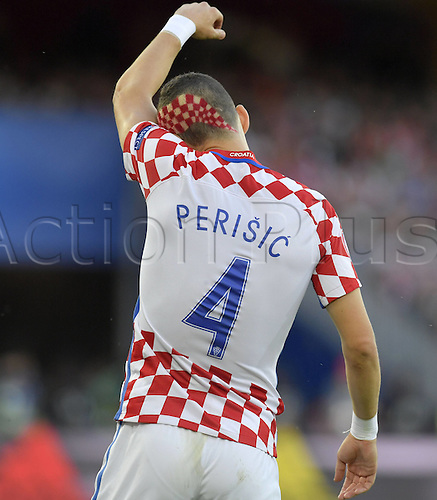 25.06.2016. Lens, France. UEFA European 2016 Football championships, last 16, Croatia versus Portugal.  Ivan Perisic with a radical national hair do