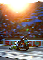 Jul 8, 2016; Joliet, IL, USA; NHRA pro stock motorcycle rider Jerry Savoie during qualifying for the Route 66 Nationals at Route 66 Raceway. Mandatory Credit: Mark J. Rebilas-USA TODAY Sports